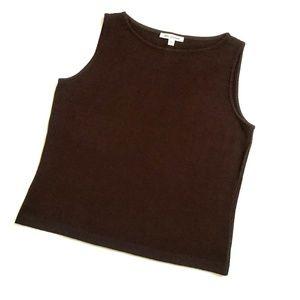 ST. JOHN Brown Santana Knit Sleeveless Tank